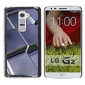 LECELL -- Funda protectora / Cubierta / Piel For LG G2 D800 D802 D802TA D803 VS980 LS980 -- Abstract Metal Cubes --