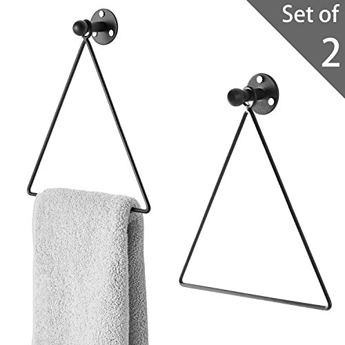 MyGift Modern Wall-Mounted Triangle Black Metal Hand Towel Ring, Set of 2 by MyGift
