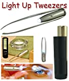 Illuminated Tweezer with Mirror & Case - Black