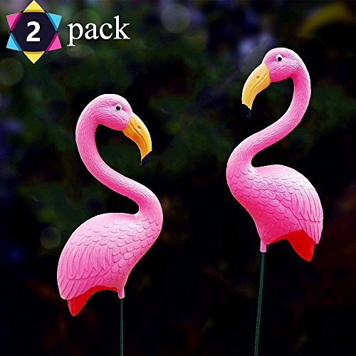 G-Solar 2018new HOT product NON-SOLAR NO LIGHT hot Pack of 2 Pink FLAMINGO Lawn Ornaments YARD art decor (Two Lawn Art)