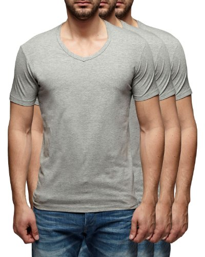 Jack & Jones ( basic v-neck 3er grey XL )