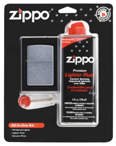 Zippo All-In-One Kit Chrome Chrome Zippo Lighter