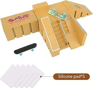 TIME4DEALS Finger Skateboard Park 5pcs Skate Park Kit Ramp Parts Mini Fingerboard Rails Starter Kit with 5 Decks, 2 fingerboards & 5 Silicone Mat Set