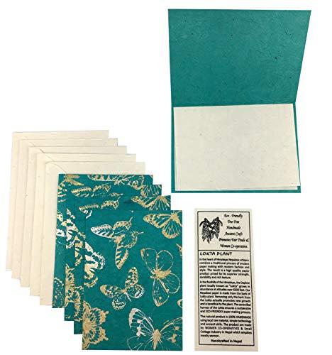 Nepal Greeting Card and Envelope Set: Butterfly Notecards, Handmade Lokta - Lokta Handmade Paper