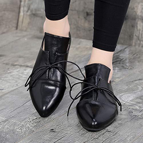 Casual Tobillo Unisex Four Seasons Origine Mujer Zapatos Negro Sexy Bota De Señaló Vendaje ALIKEEY Corto Piso Mujeres wRqIBqpE7