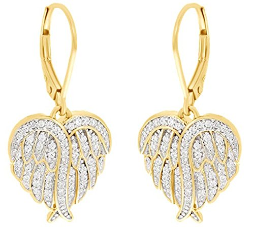 Heart Angel Wing Cubic Zirconia Lever Back Drop Earrings In Gold Over Sterling Silver