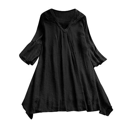 e4e94404538 Amazon.com  YKARITIANNA Fashion Women Casual Three Quarter Sleeve V-Neck  Loose Tops T-Shirt Blouse  Arts