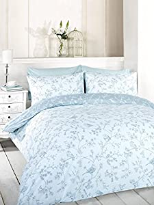 Amazoncom Signature Home French Bird Toile Duvet Cover Set With - Blue and white toile duvet cover