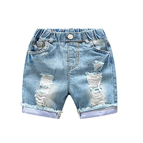Jean Denim 90 In Blue - Strawberries Cake Boys Ripped Jeans Shorts Summer Cotton Kids Holes Denim Pants Baby Boys Shorts Children Clothing,Blue,6