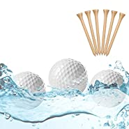 Caiton Floating Golf Balls, Floater Ball Float Water Range Golf Ball Floaters Golf Course with Pool 1/2 Dozen with Golf Tees (Floating Golf Balls)