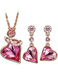 """""""Rose Lover"""" Rose Gold Plated Jewelry Set Made with Swarovski Crystal - Promise of love!"""