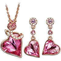 QIANSE Rose Lover Rose Gold Plated Jewelry Set Made with Swarovski Crystals, Gift Packing Jewelry - Gift of Love, Ideal Gifts for Mom Wife Daughter! 30% off coupon: 2UC3N5KV