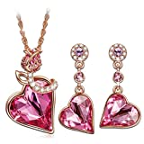 "Qianse ""ROSE LOVER"" Rose Gold Sweet Necklace Earring Sets made with SWAROVSKI Crystal, valentines gifts, gifts for her, gifts for mom, fashion jewelry set"