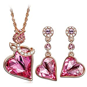 QIANSE Rose Lover Rose Gold Necklace Earrings Jewelry Sets Swarovski Crystals Jewelry Set for Women Anniversary Gifts For Her Birthday Gifts for Women Girlfriend Wife Mom Grandma Daughter