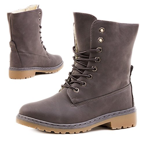Damen Worker Boots Schnür Stiefel Stiefeletten in Lederoptik gefüttert - auch in Übergrößen Grau Paris Glatt