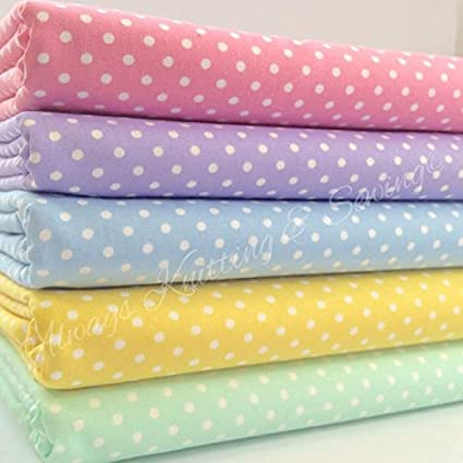 10pc Quilting Bundle Cotton Fabrics for Sewing Patchwork Wide Polka Dot Poly Cotton Fabric 40cm x 50cm