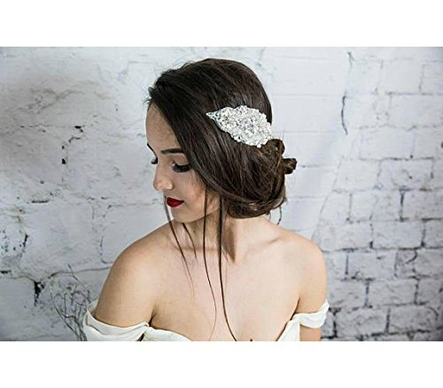Bridal Hair Comb, White Pearl Headpiece, Silver Headband, Hair Jewelry, Head Chain, Prom hair accessories by Hair Floaters