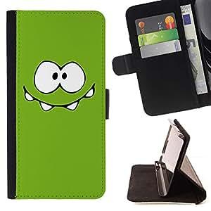For HTC One A9 Case , Monstruo Verde Ojos lindos- la tarjeta de Crédito Slots PU Funda de cuero Monedero caso cubierta de piel