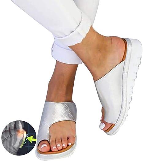 XLBHSH Corrector de Juanetes Mujer Sandalia Juanetes Corrección Reducen el Dolor de Juanetes Sandalia de Cuña de Plataforma Zapatillas de Playa de Verano,F,37: Amazon.es: Deportes y aire libre