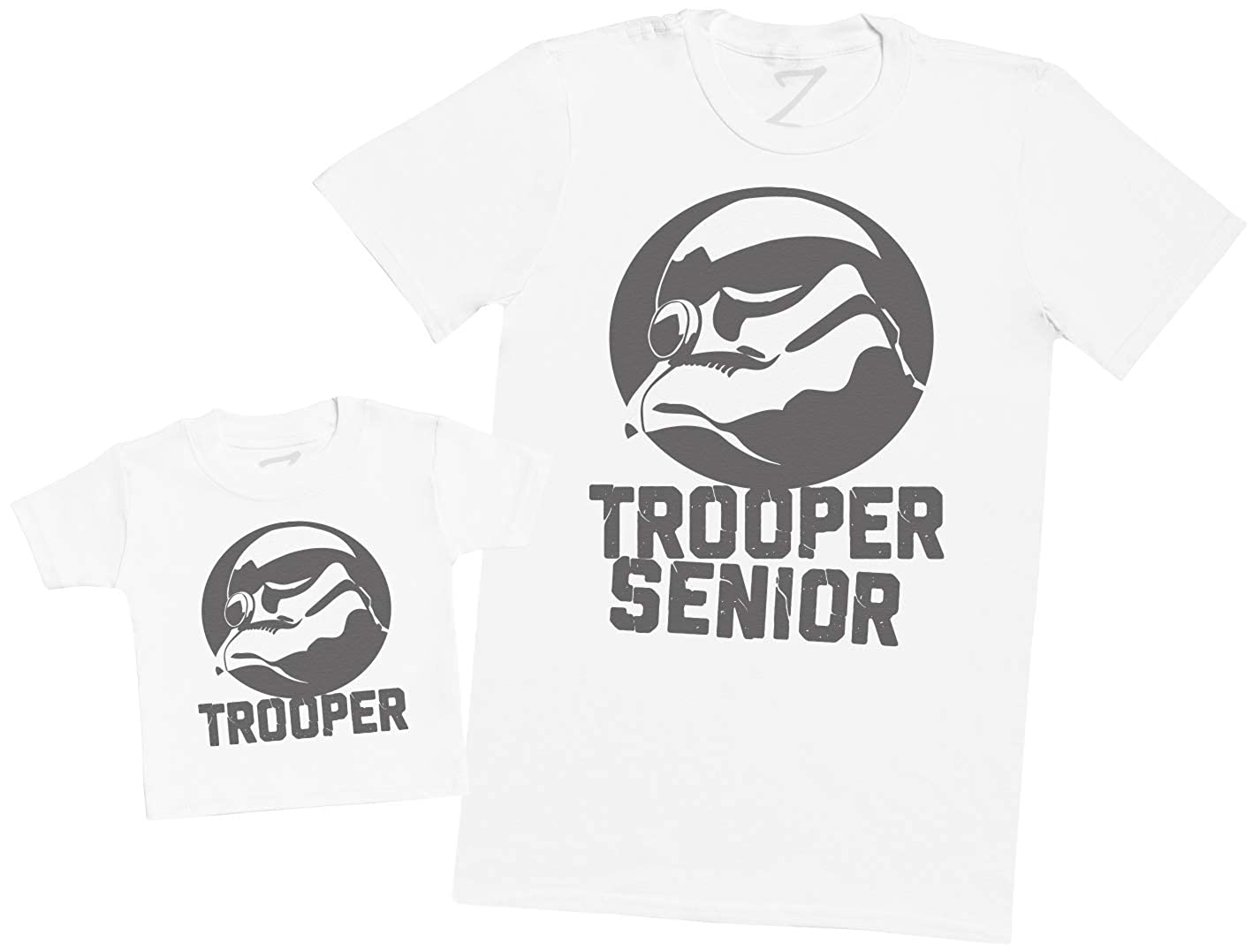 Mens T Shirt /& Baby T-Shirt Trooper Junior /& Trooper Senior Matching Father Baby Gift Set