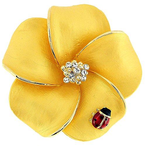 Fantasyard Golden Hawaiian Plumeria with Red Ladybug Swarovski Crystal Flower Pin Brooch and - Pendant Pin Brooch Swarovski Crystal