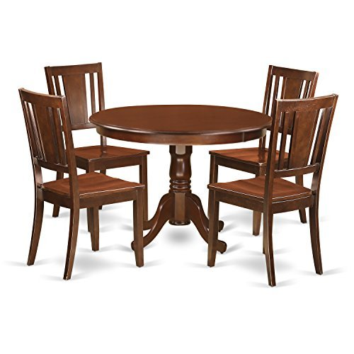 East West Furniture HLDU5-MAH-W 5 PC Hartland Set with One Round 42in Kitchen Table & 4 Dinette Chairs with Wood Seat in a Attractive Mahogany Finish