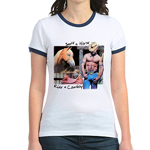 Royal Lion Jr. Ringer T-Shirt Country Western Cowgirl Save A Horse - Navy/White, Medium (Ringer T-shirt Cowgirl)