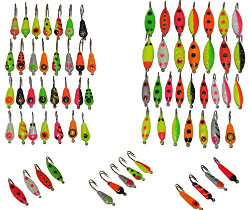 (Premium Ice Fishing Lure Kit - Angler's World of Jigs - Ice Fishing Lure, Lures, Tackle, Bait, Rod, Pole, Reel, Combo, Case, Line, Gear, Pack, Hole, Sled, Shelter, Shanty, Tool)