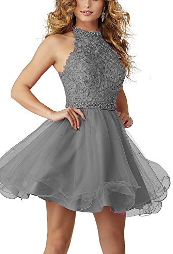 Sound of blossoming High Neck Lace Beaded Short Homecoming Dress Halter Tulle Cocktail Prom Party Dresses SOB256
