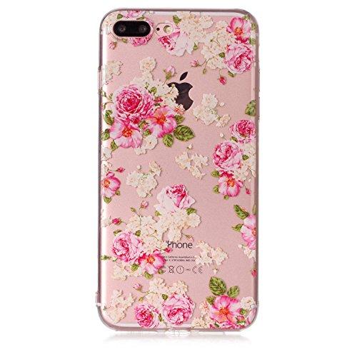 iPhone 7 Plus Hülle , Leiai Modisch Chinesische Rose TPU Transparent Clear Weich Tasche Schutzhülle Silikon Handyhülle Stoßdämpfende Schale Fall Case Shell für Apple iPhone 7 Plus