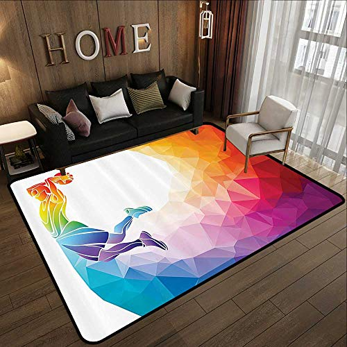 Office Floor mats,Apartment Decor,Rainbow Colored Theme with a Basketball Player Sports Man Jumps Print,Multicolor 71