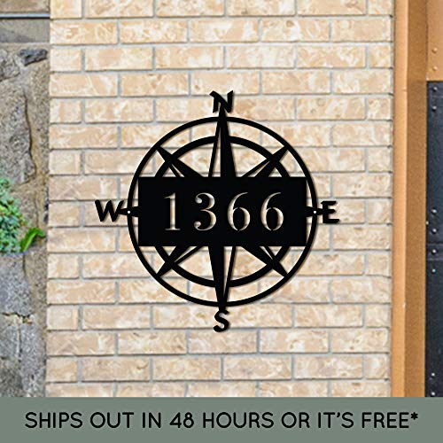 Custom Metal Address Sign - Compass Address Sign - Metal House Numbers - Outdoor Metal Sign - Address Plaque - Housewarming Gift - Nautical