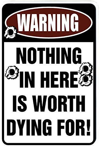 Tisigns Metal Sign 8x12inch Warning Nothing in Here is Worth Dying for 2 Funny Metal Decor Gift Sign