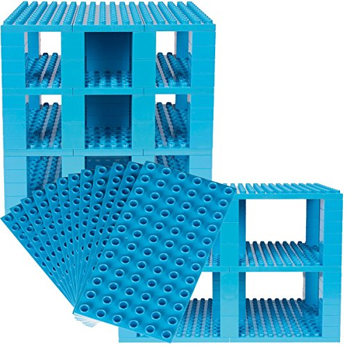 Strictly Briks Classic Big Briks 96 Piece Set 100% Compatible with All Major Brands   Tower Construction   Large Pegs for Toddlers   Ages 3+   Building Bricks & Baseplates   Sky Blue