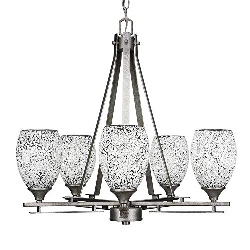 Toltec Lighting 325-AS-4165 Uptowne - Five Light Chandelier, Aged Silver Finish with Black Fusion Glass ()