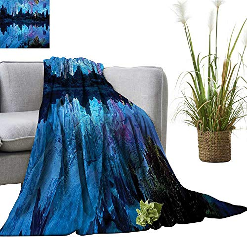 YOYI Single-Sided Blanket Reed Flute Cistern ifical Crystal Palace Cave Image Bed Blue digo for Bed & Couch Sofa Easy Care 35