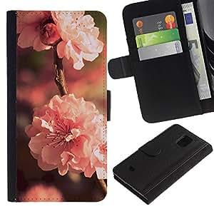 KLONGSHOP // Tirón de la caja Cartera de cuero con ranuras para tarjetas - Flor Rosa - Samsung Galaxy S5 Mini, SM-G800 //