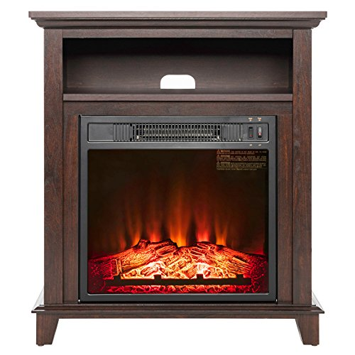 "AKDY 27"" Electric Fireplace Heater Freestanding Brown Wooden"