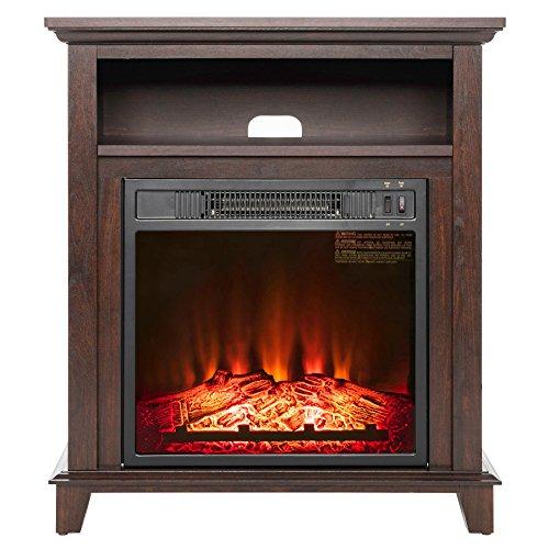 "AKDY 27"" Electric Fireplace Freestanding Brown Wooden Mantel Firebox 3D Flame w/Logs Heater"