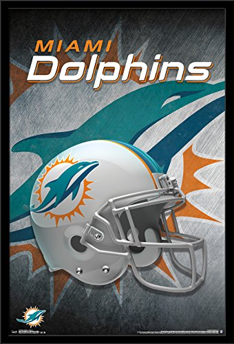 Miami Dolphins Framed Wall (Trends International Wall Poster Miami Dolphins Helmet, 22.375 x 34)