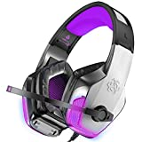 BENGOO V-4 Gaming Headset for Xbox One, PS4, PC, Controller, Noise Cancelling Over Ear Headphones with Mic, LED Light Bass Surround Soft Memory Earmuffs for Mac Nintendo Switch Games - Purple