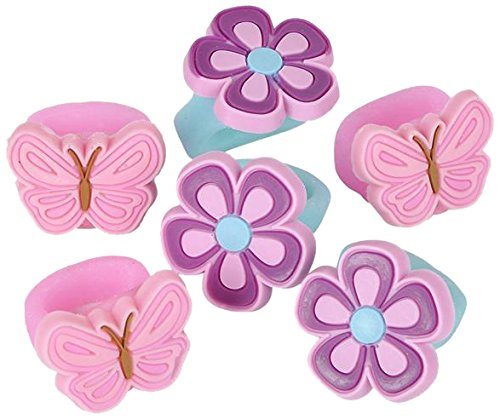 Rhode Island Novelty 8 Piece Butterfly and Flower Ring, 1