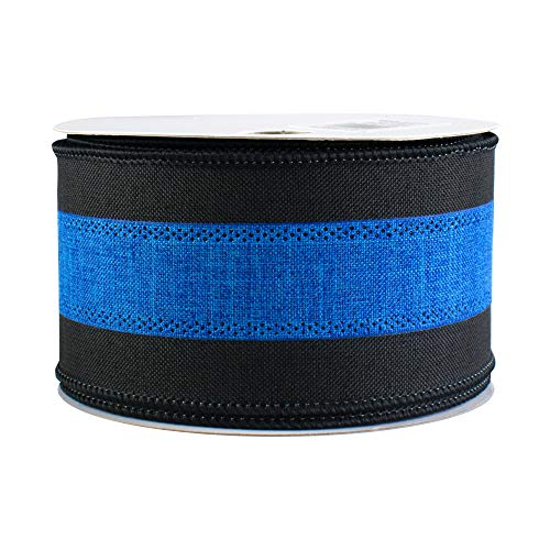 - Black and Blue Wired Ribbon - 2 1/2