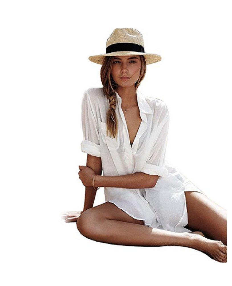 NFASHIONSO Women's Sexy Cotton Deep V Neck Swimsuit Cover up/Beachwear Dress,White-Shirt