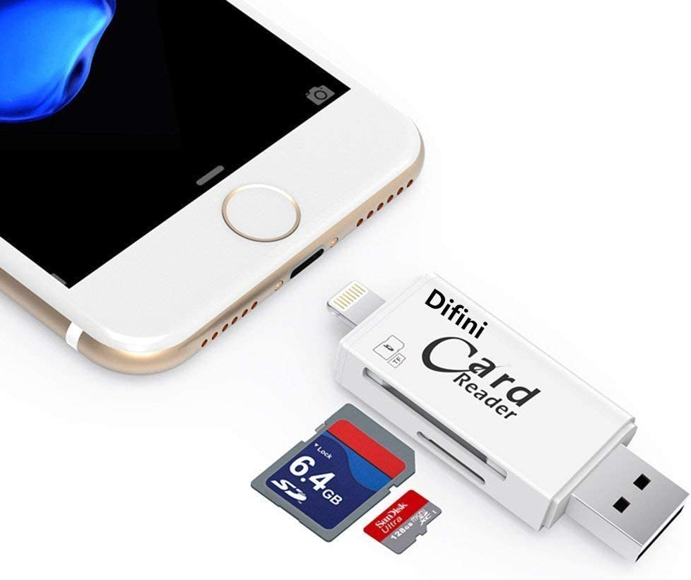 Difini Micro SD Card Reader, TF Memory Card Camera Reader Adapter Lightning Connector, External Storage Memory Expansion Compatible ...