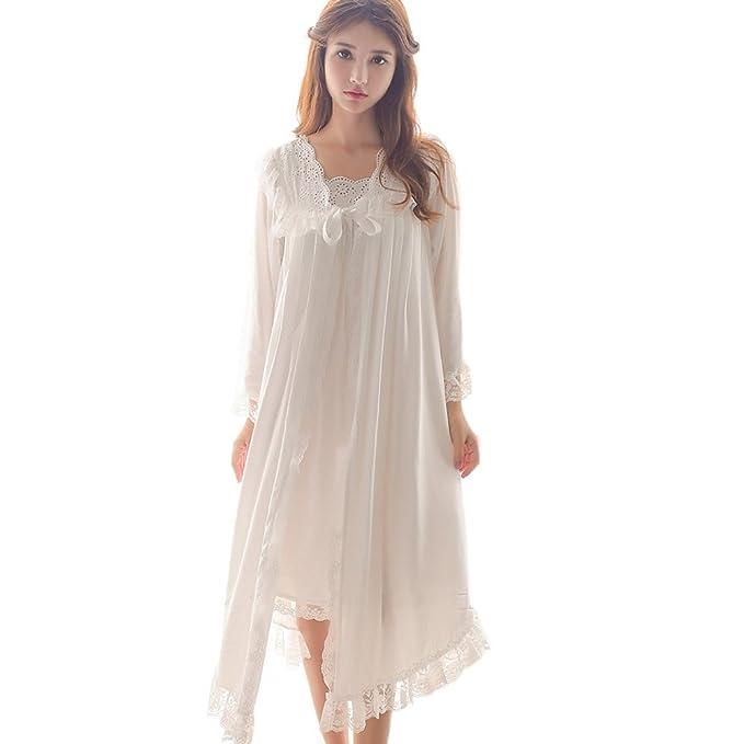 845f06d2d3 Singingqueen Womens Victorian Nightgown Vintage 2 Pcs Sleepwear Nightdress  Robes Royal Pajamas Lounge Wear (White