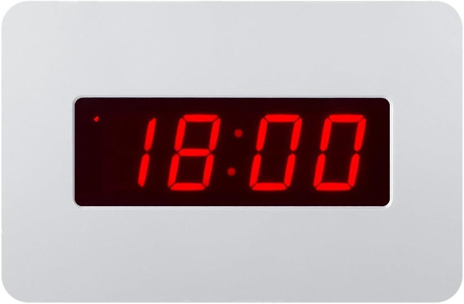 Timegyro Reloj de Pared Digital con Pilas Reloj de Alarma de Escritorio para durmientes Pesados (Blanco)