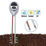 Soil pH Meter, 3 in 1 Soil Test Kit Including Soil Moisture Meter, Sunlight Meter, PH Meter for Garden, Lawns, Farm, Home, Gardening Tools and Gifts for Women, Men(No Battery Needed)