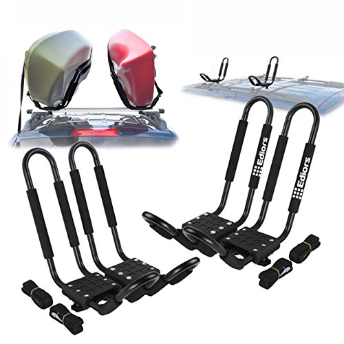 Ediors 2 Pairs Universal J-bar Shape Steel Kayak Canoe Paddle Surf Snow Board Carrier Roof Rack Car Top Mount