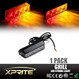 Xprite Red & Amber 4 LED 4 Watt Emergency Vehicle Waterproof Surface Mount Deck Dash Grille Strobe Light Warning Police Light Head with Clear Lens